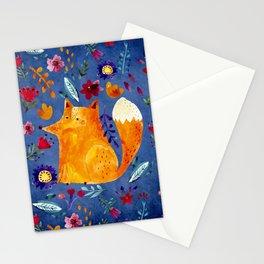 The Smart Fox in Flower Garden Stationery Cards