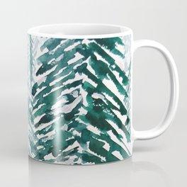 snowy pine forest in green Coffee Mug