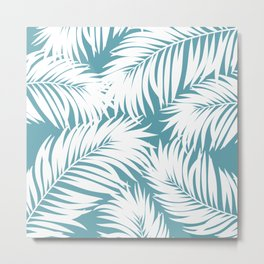 Palm Tree Fronds White on Soft Blue Hawaii Tropical Décor Metal Print
