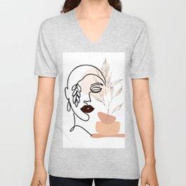 Female Line Art, Single Line Floral Art, Woman's Face Drawing, Botanical Prints, Leaf Face Art Print Unisex V-Neck