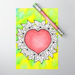 Watercolor Doodle Art | Heart Wrapping Paper