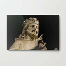 Crowned Statue Has Something to Say Metal Print
