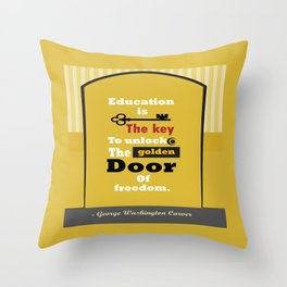 Education The golden door of freedom George Washington Quote Throw Pillow