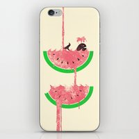watermelon iPhone & iPod Skins featuring watermelon falls by Jonah Makes Artstuff
