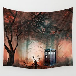 TARDIS IN THE FOREST Wall Tapestry