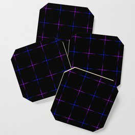 Glowing blue and purple stars on a black background. Coaster