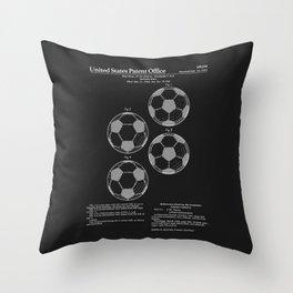 Soccer Ball Patent - Black Throw Pillow