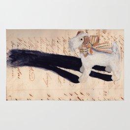 Vintage Fabric Stuffed Fox Terrier in Gouache Rug