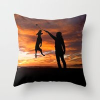 workout Throw Pillows featuring Sunset Workout by Sandy Broenimann