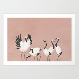 Crane Dance - Mauve Pink Art Print