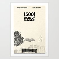 500 days of summer Art Prints featuring (500) Days of Summer by Martin Lucas