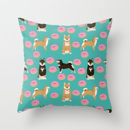 Shiba Inu donuts food cute dog art sweet treat dogs pet portrait pattern Throw Pillow