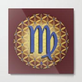 VIRGO Flower of Life Astrology Design Metal Print