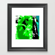 Green Turquoise black and white abstract Framed Art Print