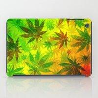 marijuana iPad Cases featuring Marijuana Leaves Rasta Colors by BluedarkArt