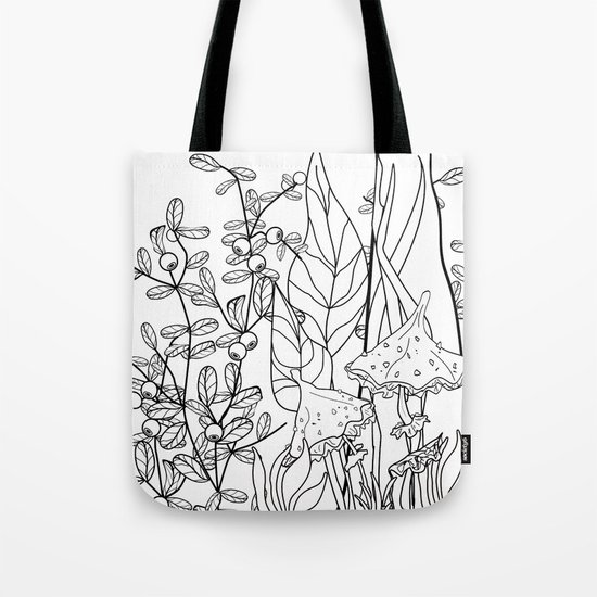 Toadstools and blueberries . Tote Bag