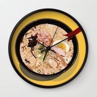 ramen Wall Clocks featuring ITADAKIMASU::RAMEN by Gloria Kum ::Crunchyshimp::