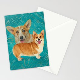 Corgi Collage Abstract Mixed Media Stationery Cards