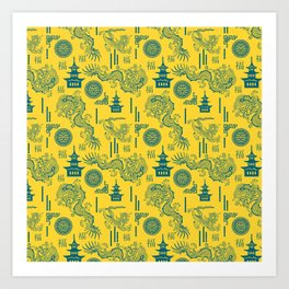 Yellow and Blue Chinoiserie Art Print