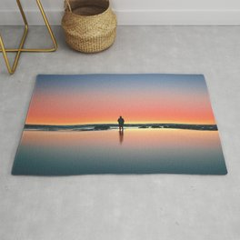 silhouette, sunset, ocean, horizon, loneliness, kalaloch, united states Rug