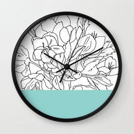 VESSEL - Floral Ink in Mint Green - Cooper and Colleen Wall Clock
