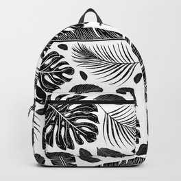 Tropical Monochrome Black and White Botanical Pattern Backpack