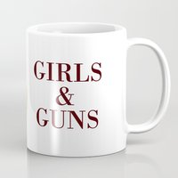 guns Mugs featuring Girls & Guns by Jokin de Cerio
