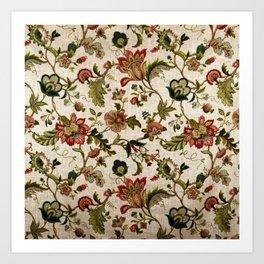 Red Green Jacobean Floral Embroidery Pattern Kunstdrucke