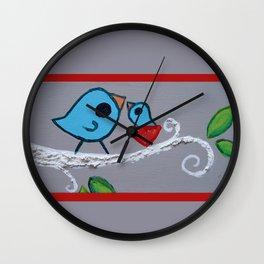 Mamma Bird - Blue on Grey Wall Clock