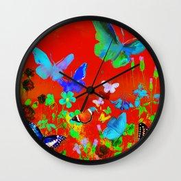Red Butterflies & Flowers Wall Clock