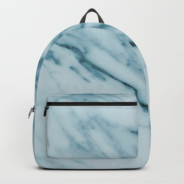 Streaked Teal Blue White Marble Backpack