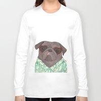 hawaiian Long Sleeve T-shirts featuring Hawaiian Pug by Indi Maverick