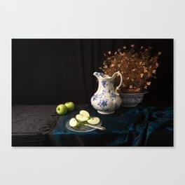 Green apples and china still life Canvas Print