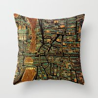 paris map Throw Pillows featuring Paris Map by Larsson Stevensem