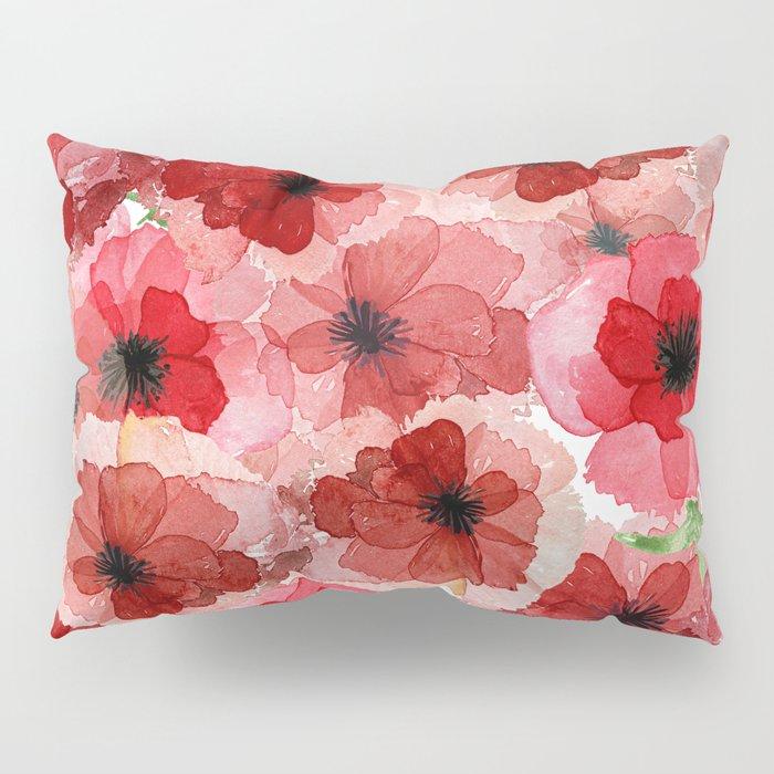 Pressed Poppy Blossom Pattern Pillow Sham