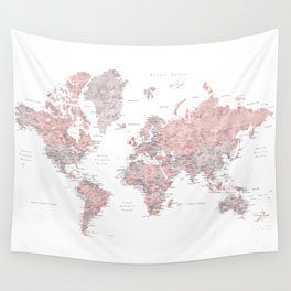 Dusty pink and grey detailed watercolor world map Wandbehang