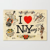 neil young Canvas Prints featuring I Heart NY (Neil Young) by Phillip Marsden