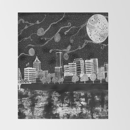 Portland Oregon Skyline Throw Blanket