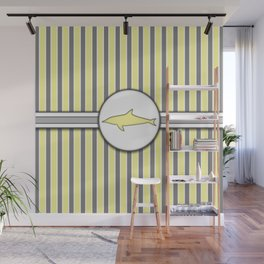 Yellow Dolphin Stripes Pattern Design Wall Mural