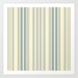 Seafoam Green Yellow Stripes Art Print