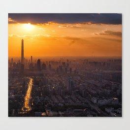 Tianjin City at Sunset Canvas Print