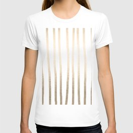 Simply Drawn Vertical Stripes in White Gold Sands T-shirt