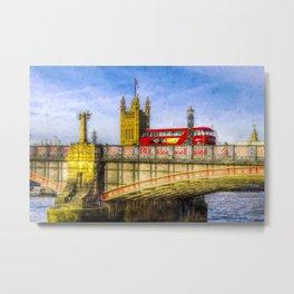 Lambeth Bridge and Westminster Art Metal Print