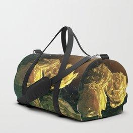 Yellow Vintage Roses Duffle Bag