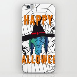 Witch Happy Halloween white iPhone Skin
