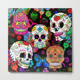 Rocking Color Sugar Skulls Metal Print