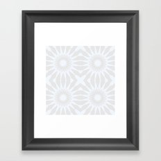 Gray & White Pinwheel Flower Framed Art Print