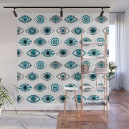 Evil eyes - eye pattern, eyes, doodle, eye drawing, talisman, greek, turkey, turkish,  Wall Mural