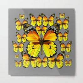 CLUSTER YELLOW-BROWN  BUTTERFLIES GREY  DESIGN Metal Print