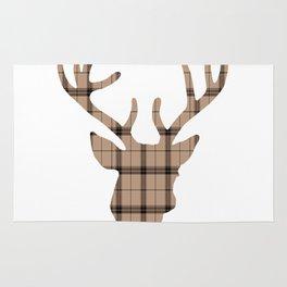 Plaid Deer Head: Brown Rug